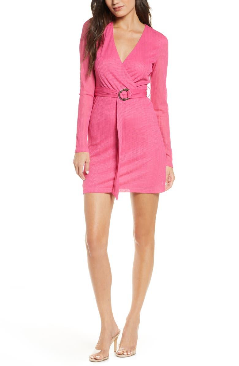 NSR Ana Wrap Front Long Sleeve Minidress, Main, color, 651