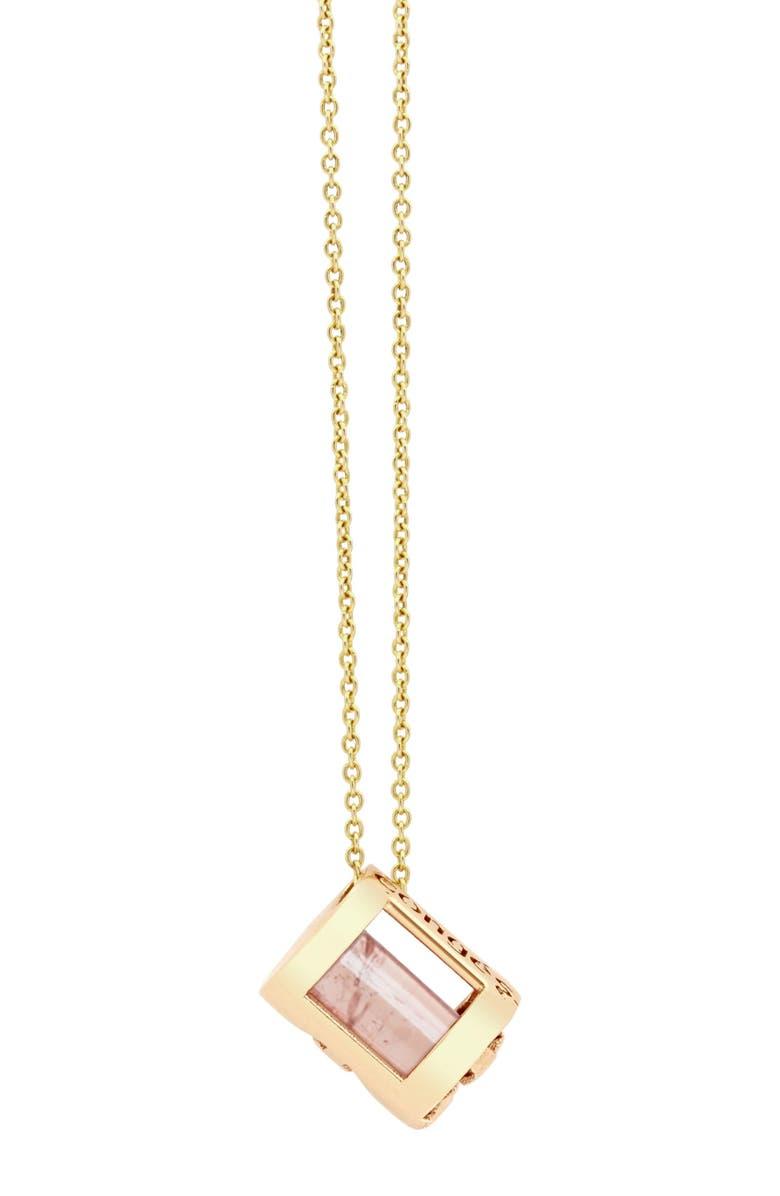 CONGÉS Bring Serenity Smoky Quartz Initial Barrel Pendant Necklace, Main, color, YELLOW GOLD-A