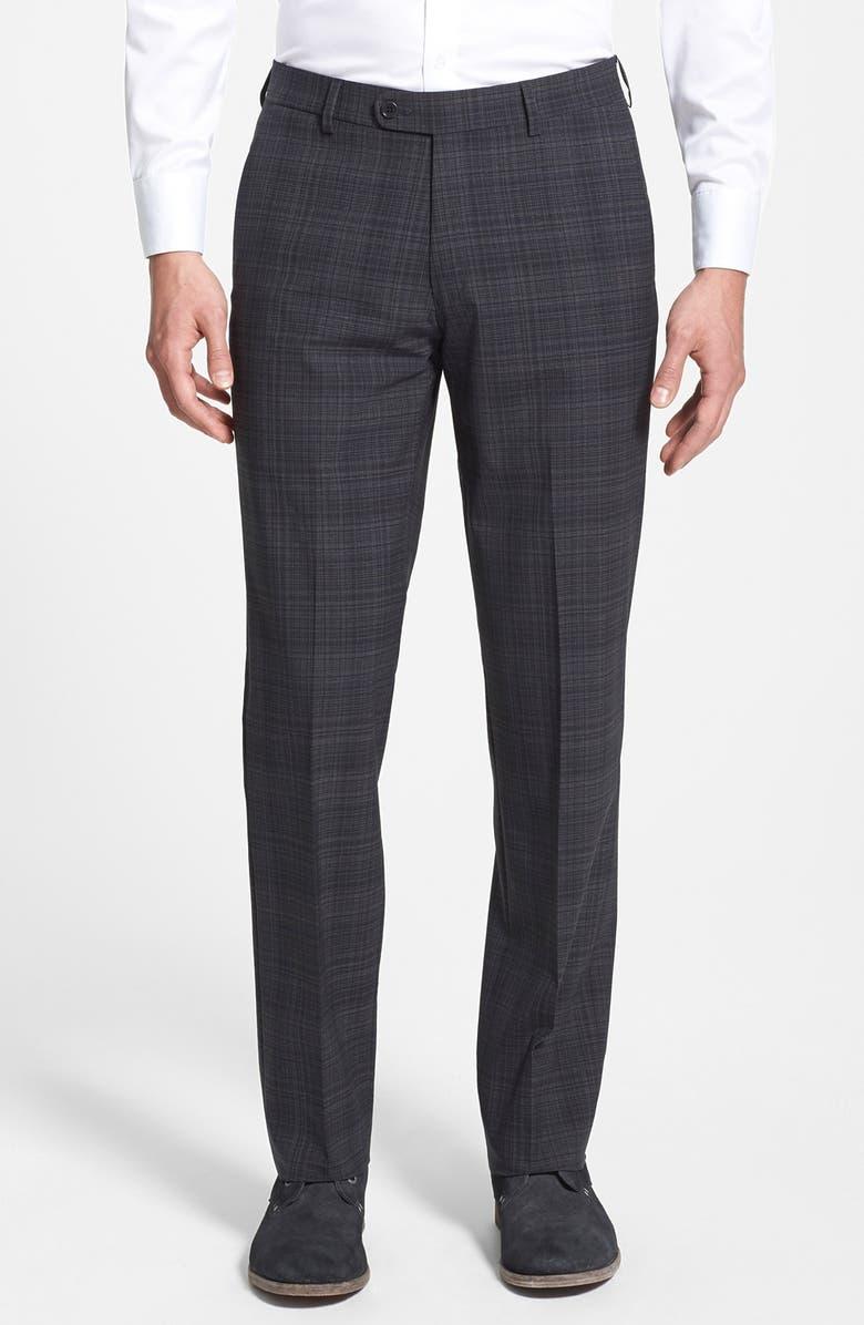 JOHN VARVATOS STAR USA Flat Front Plaid Trousers, Main, color, 015