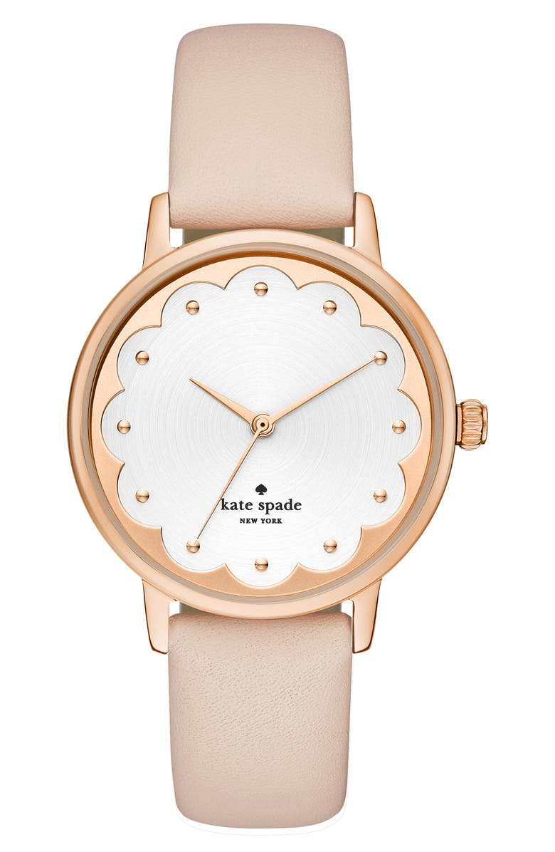 KATE SPADE NEW YORK metro scallop leather strap watch, 34mm, Main, color, BLUSH/ WHITE/ ROSE GOLD