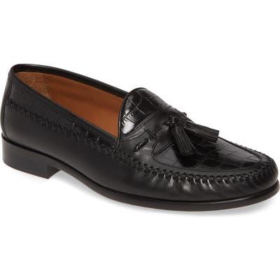 Johnston & Murphy Domani Croc Embossed Tassel Loafer- Black