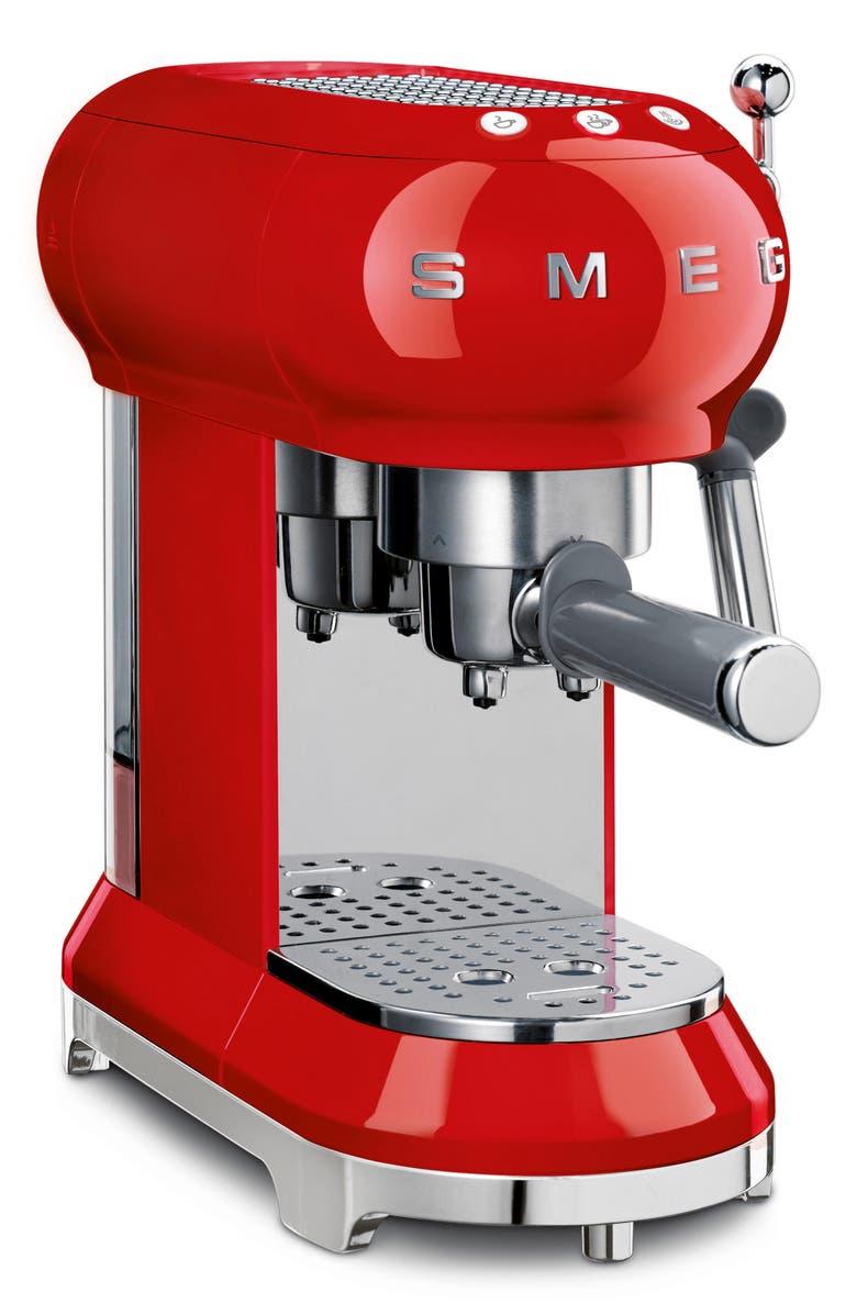 SMEG '50s Retro Style Espresso Coffee Machine, Main, color, RED