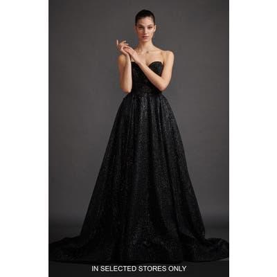 Lazaro Veronica Shimmer Strapless Evening Dress, Size - Black