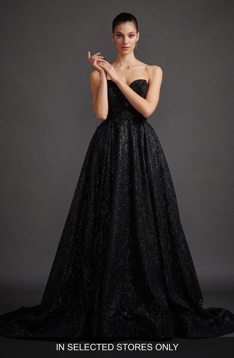 LAZARO Veronica Shimmer Strapless Evening Dress, Main, color, BLACK