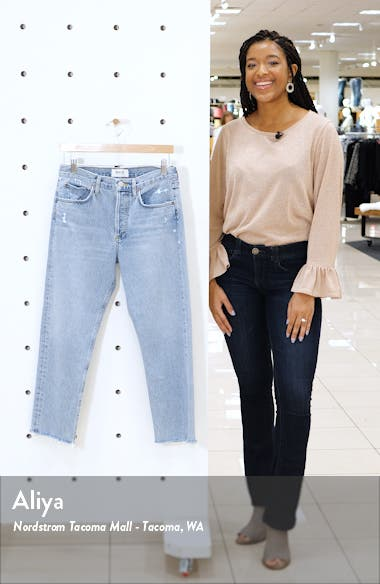 Parker Easy High Waist Fray Hem Crop Straight Leg Jeans, sales video thumbnail
