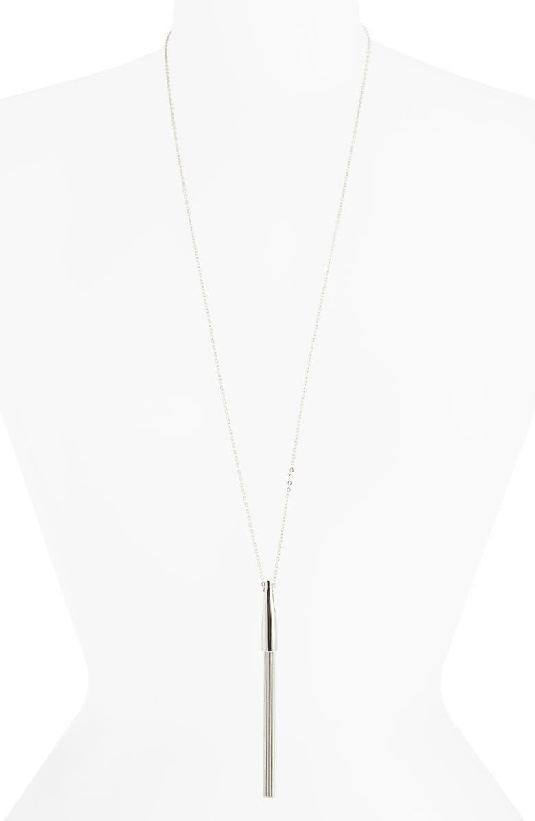 HALOGEN<SUP>®</SUP> Snake Chain Tassel Pendant, Main, color, RHODIUM
