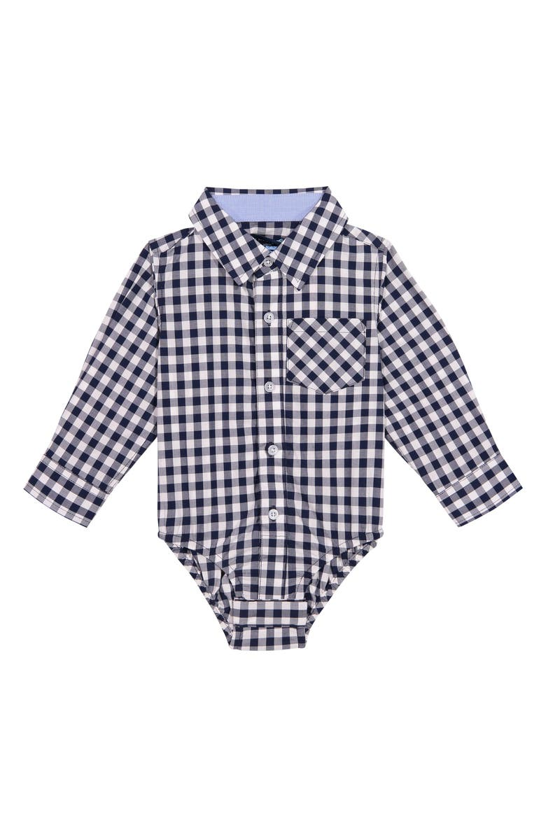 ANDY & EVAN Button-Up Long Sleeve Bodysuit, Main, color, NAVY