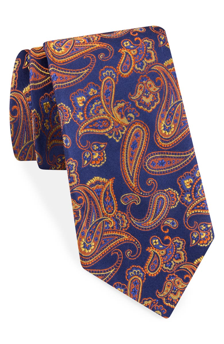 TED BAKER LONDON Paisley Silk Tie, Main, color, ORANGE