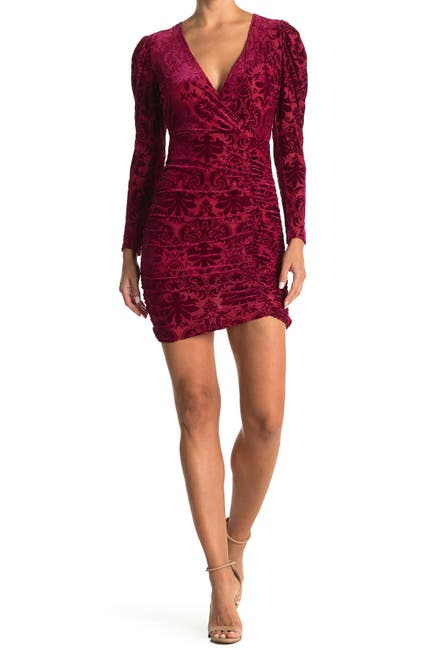 Image of Lush Flocked Velvet Long Sleeve Ruched Mini Dress