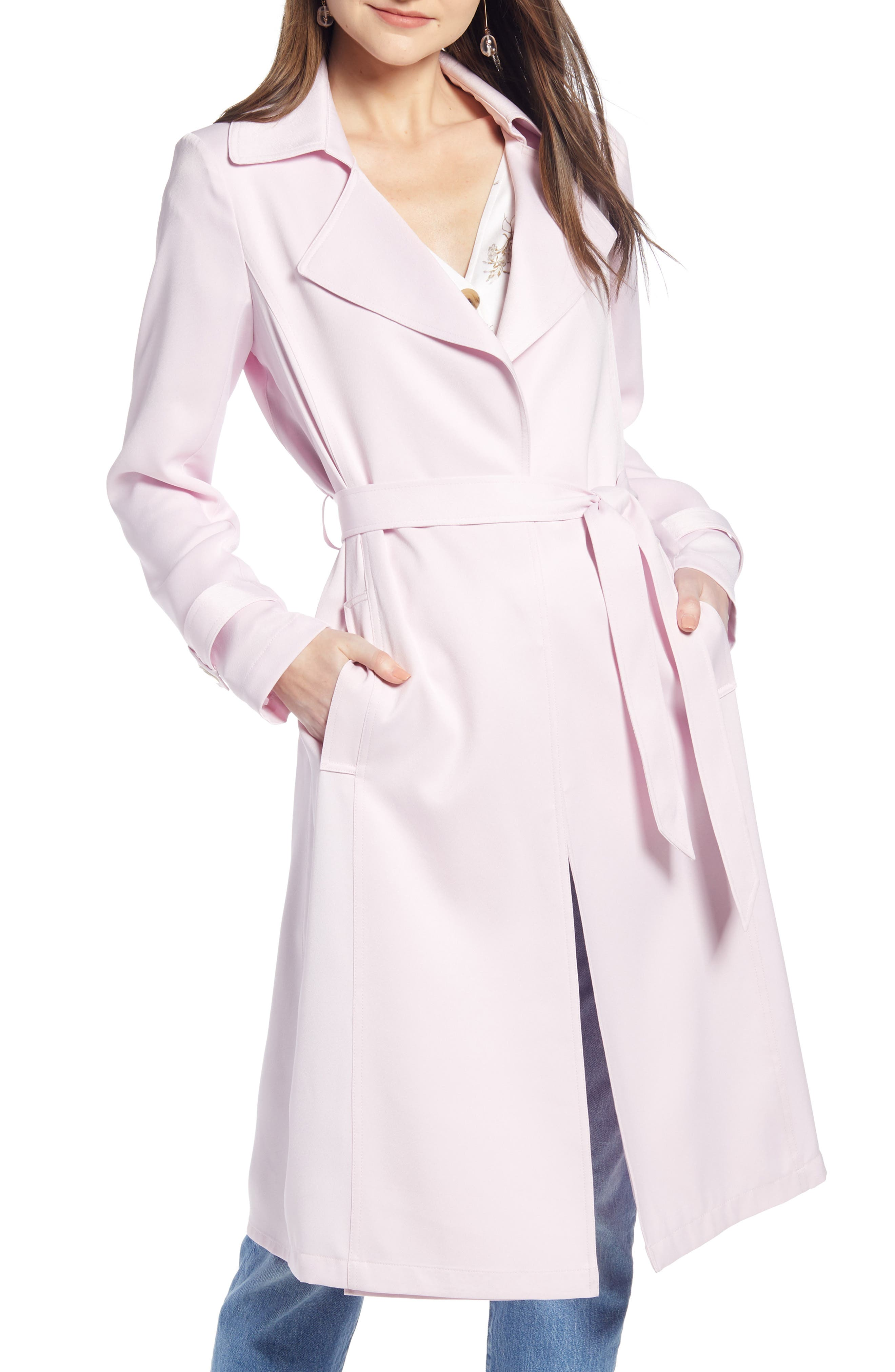 Something Navy Pleat Back Trench Coat, Size - (Nordstrom Exclusive)