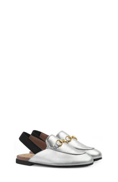 Gucci Princetown Junior Leather Horsebit Mule Slide, Toddler/kids In Silver