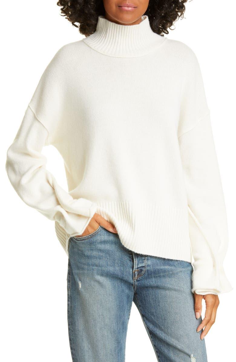 AUTUMN CASHMERE Button Sleeve Mock Neck Cashmere Sweater, Main, color, 151