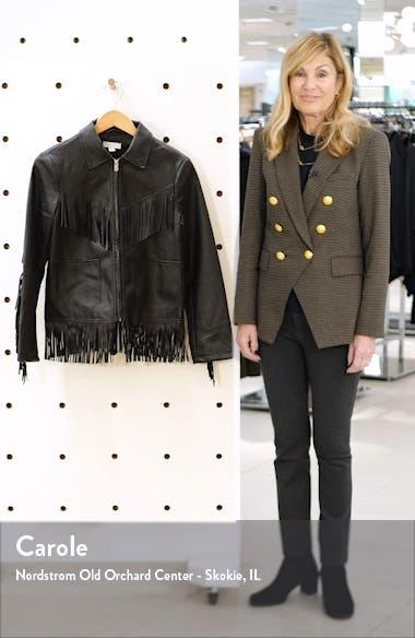 Fringe Trim Faux Leather Jacket, sales video thumbnail