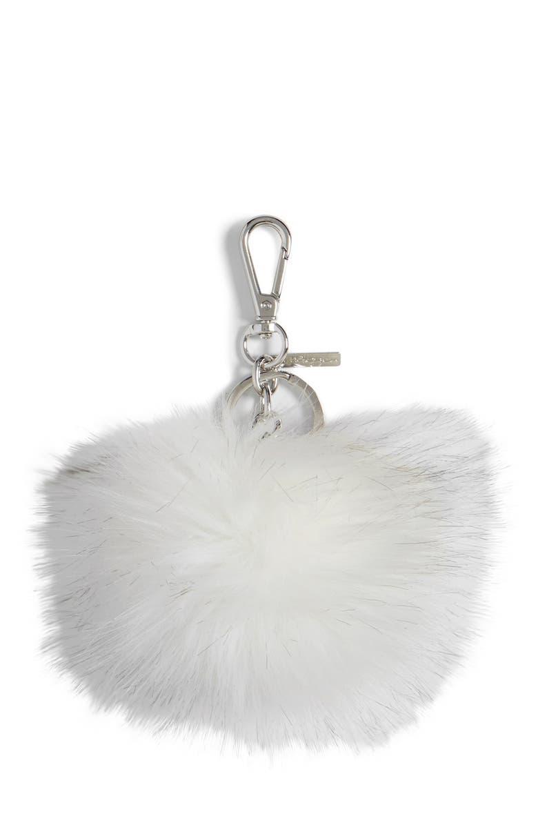 HALOGEN<SUP>®</SUP> Faux Fur Pom Bag Charm, Main, color, 100