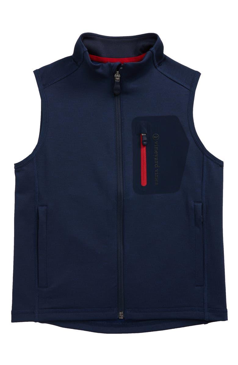 VINEYARD VINES Walker Zip Vest, Main, color, DEEP BAY