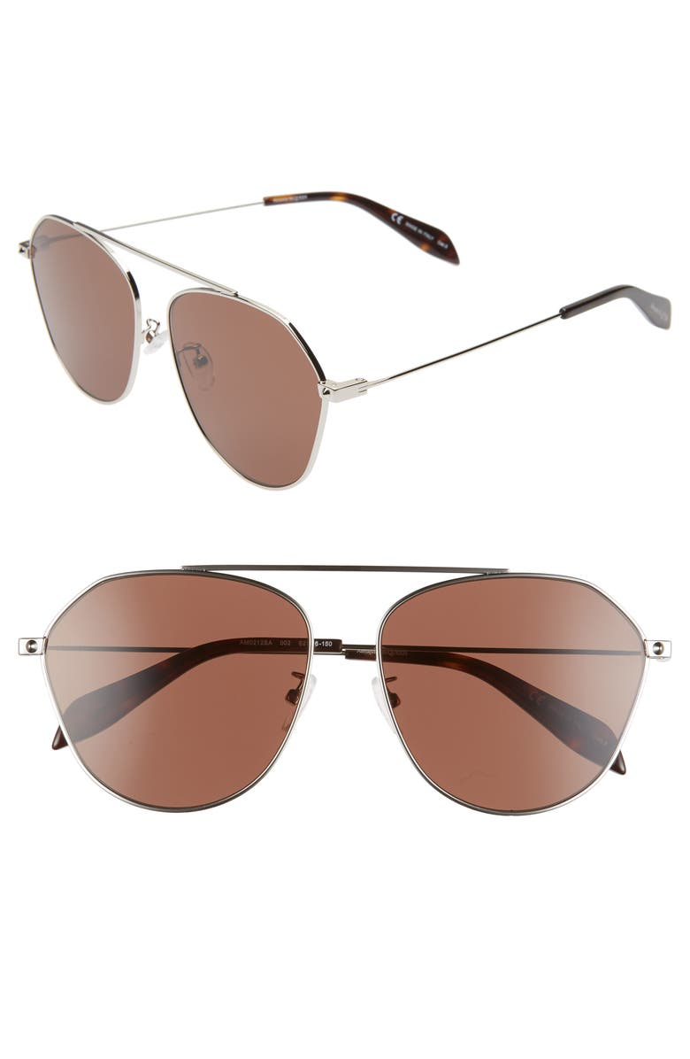 ALEXANDER MCQUEEN 62mm Aviator Sunglasses, Main, color, SHINY SILVER