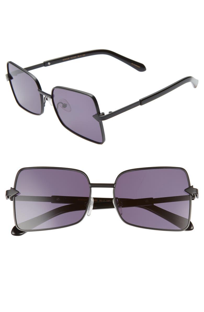KAREN WALKER Wisdom 56mm Square Sunglasses, Main, color, BLACK/ SMOKE