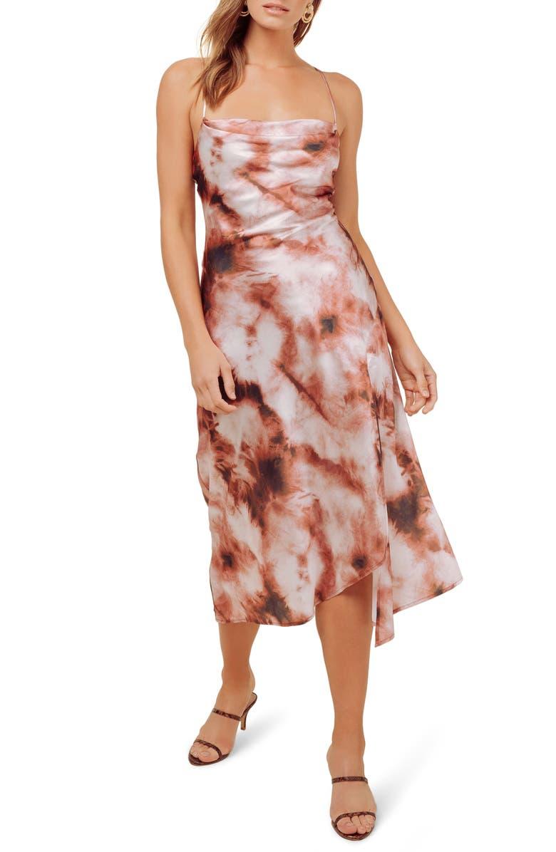 ASTR THE LABEL Cowl Neck Midi Dress, Main, color, WINE TIE DYE