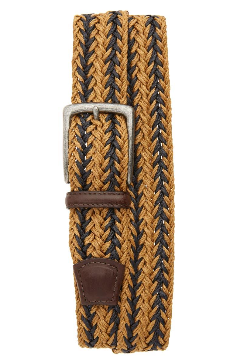 TORINO Woven Linen Belt, Main, color, CAMEL/ NAVY