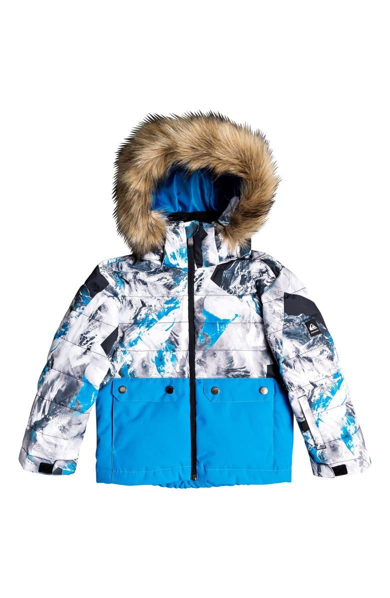 QUIKSILVER Edgy Waterproof Hooded Faux Fur Jacket, Main, color, CLOISONNE RANDOM PICS