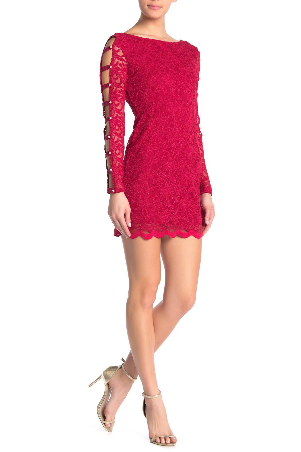 Image of JUMP Caged Sleeve Lace Mini Dress