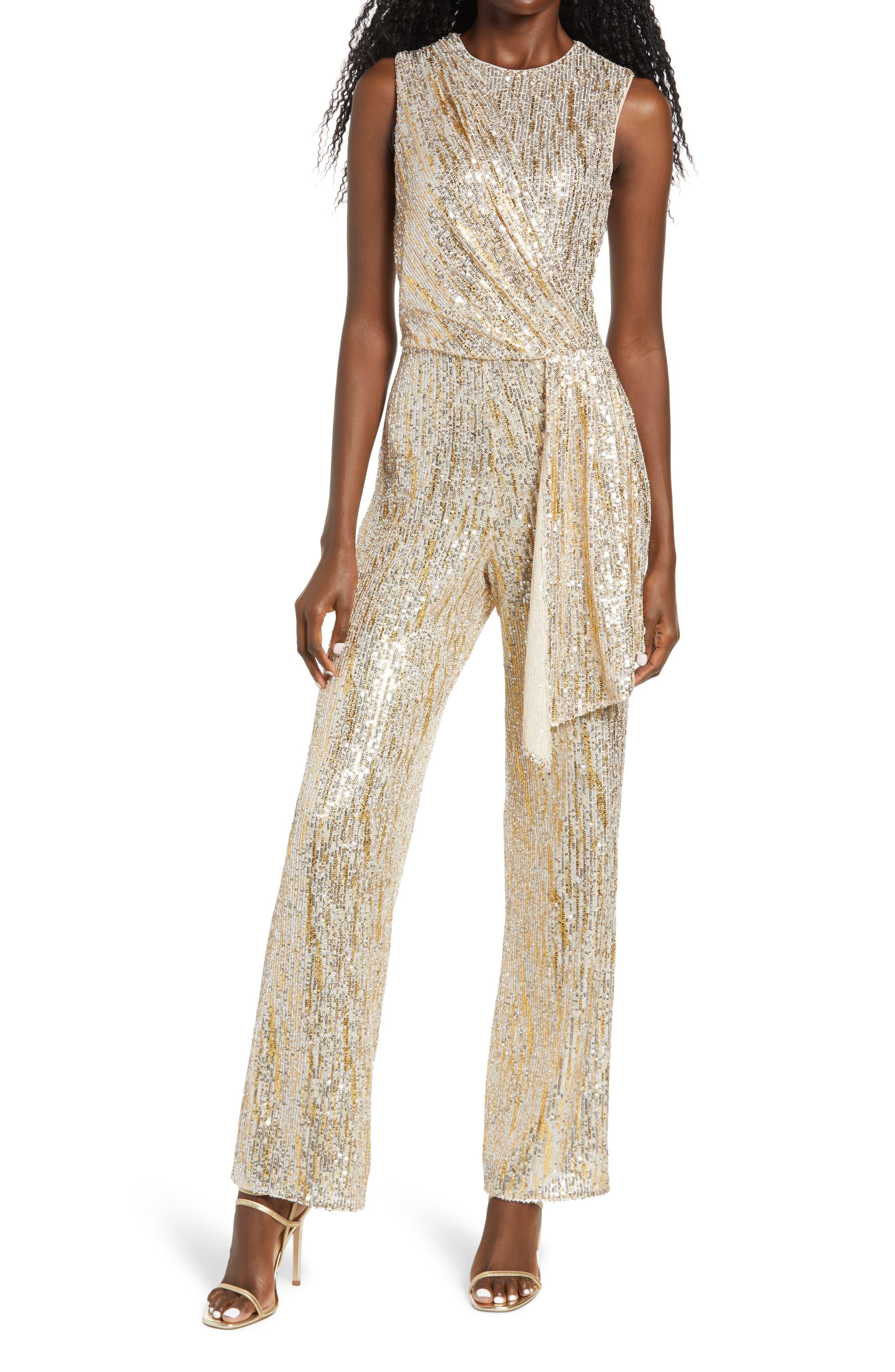 Saylor Briar Gold Foiled Sequin Sleeveless Jumpsuit   Nordstrom