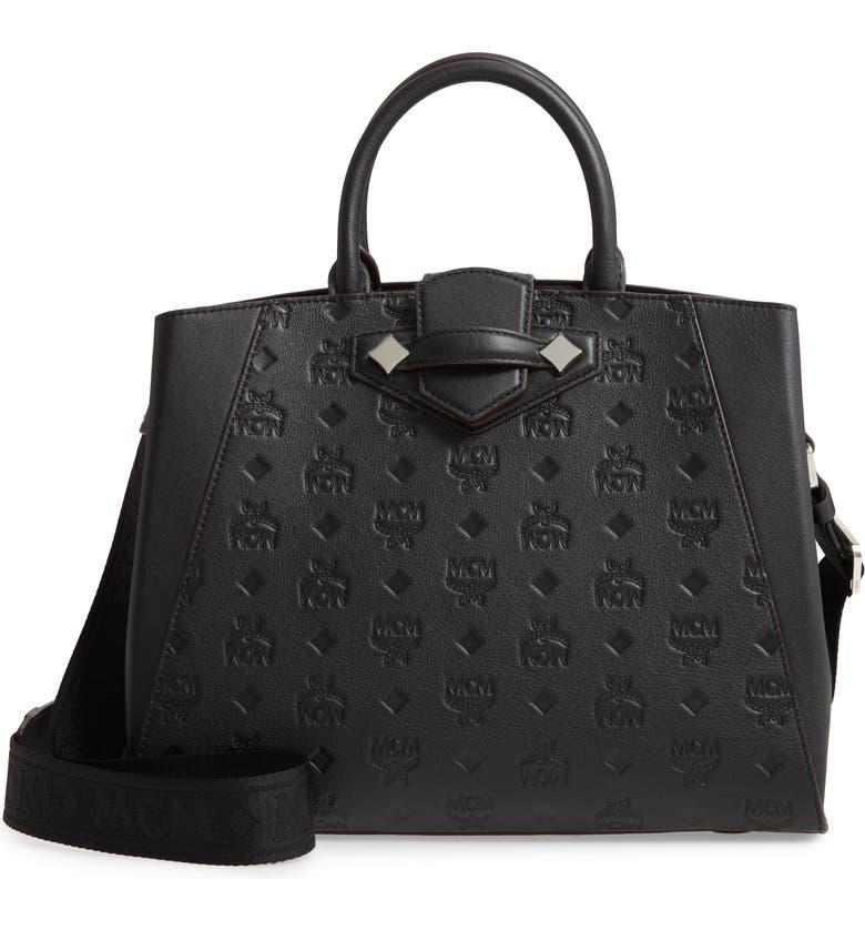 MCM Essential Monogrammed Leather Satchel, Main, color, BLACK