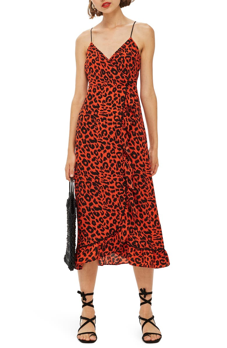 TOPSHOP Animal Ruffle Slipdress, Main, color, 800