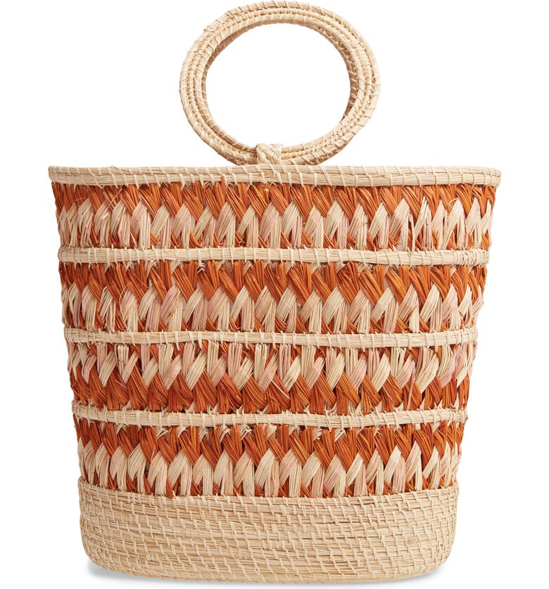 KAANAS Mongui Woven Beach Tote, Main, color, NUDE