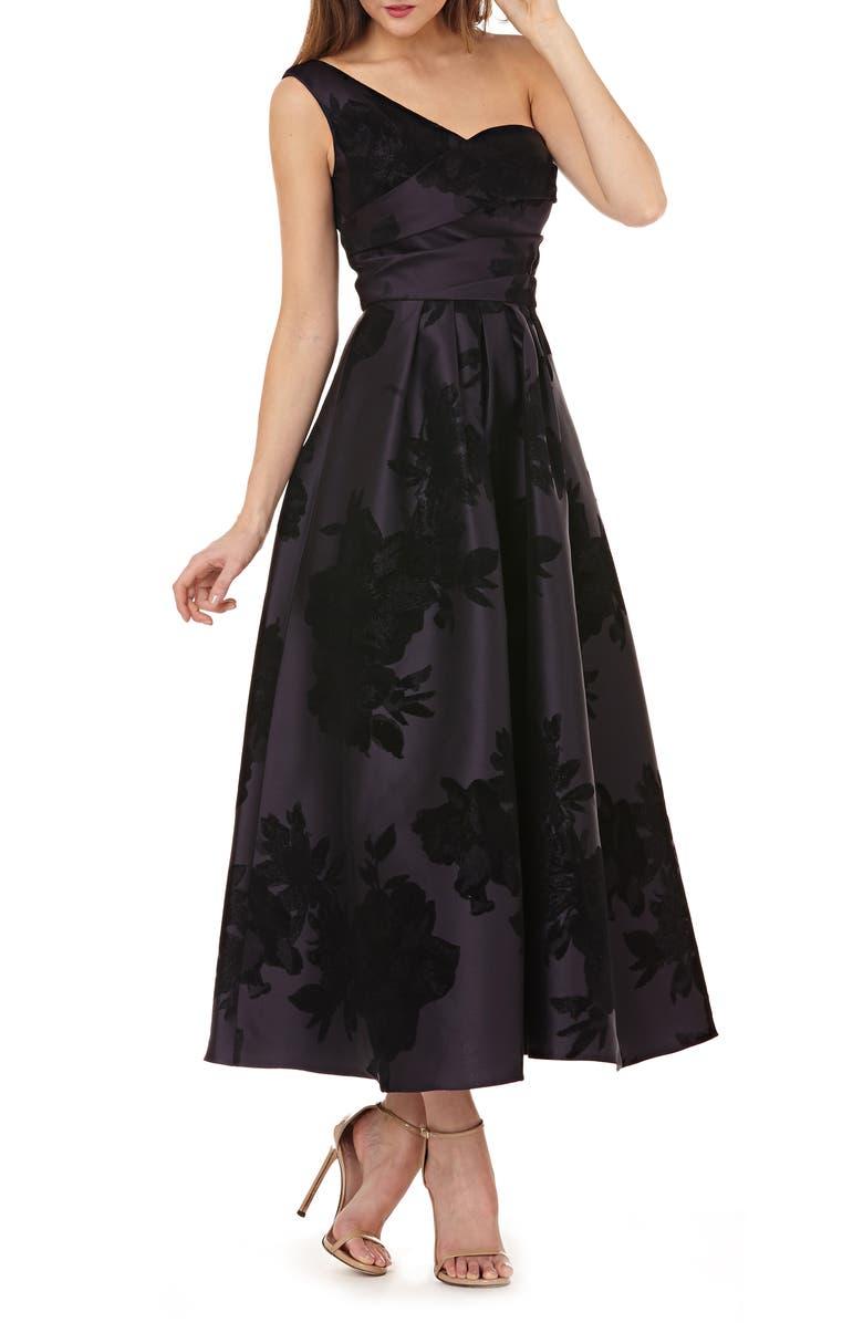 KAY UNGER Mikado One-Shoulder Gown, Main, color, PLUM / BLACK