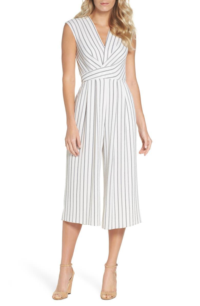 MAGGY LONDON Stripe Crepe Crop Jumpsuit, Main, color, 115