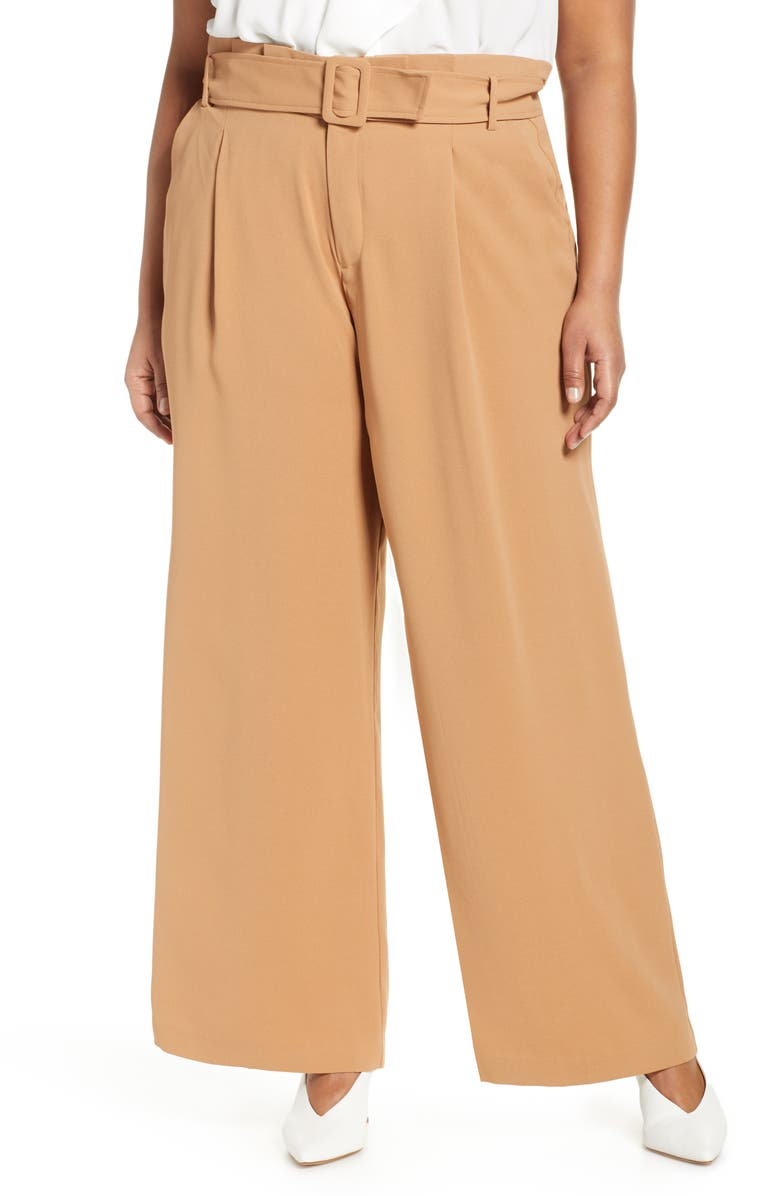 ELOQUII Paperbag Waist Wide-Leg Pants, Main, color, CAMEL