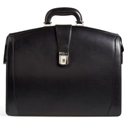 Bosca Triple Compartment Leather Briefcase - Black