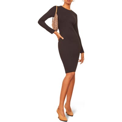 Reformation Wednesday Ribbed Crewneck Dress, Black