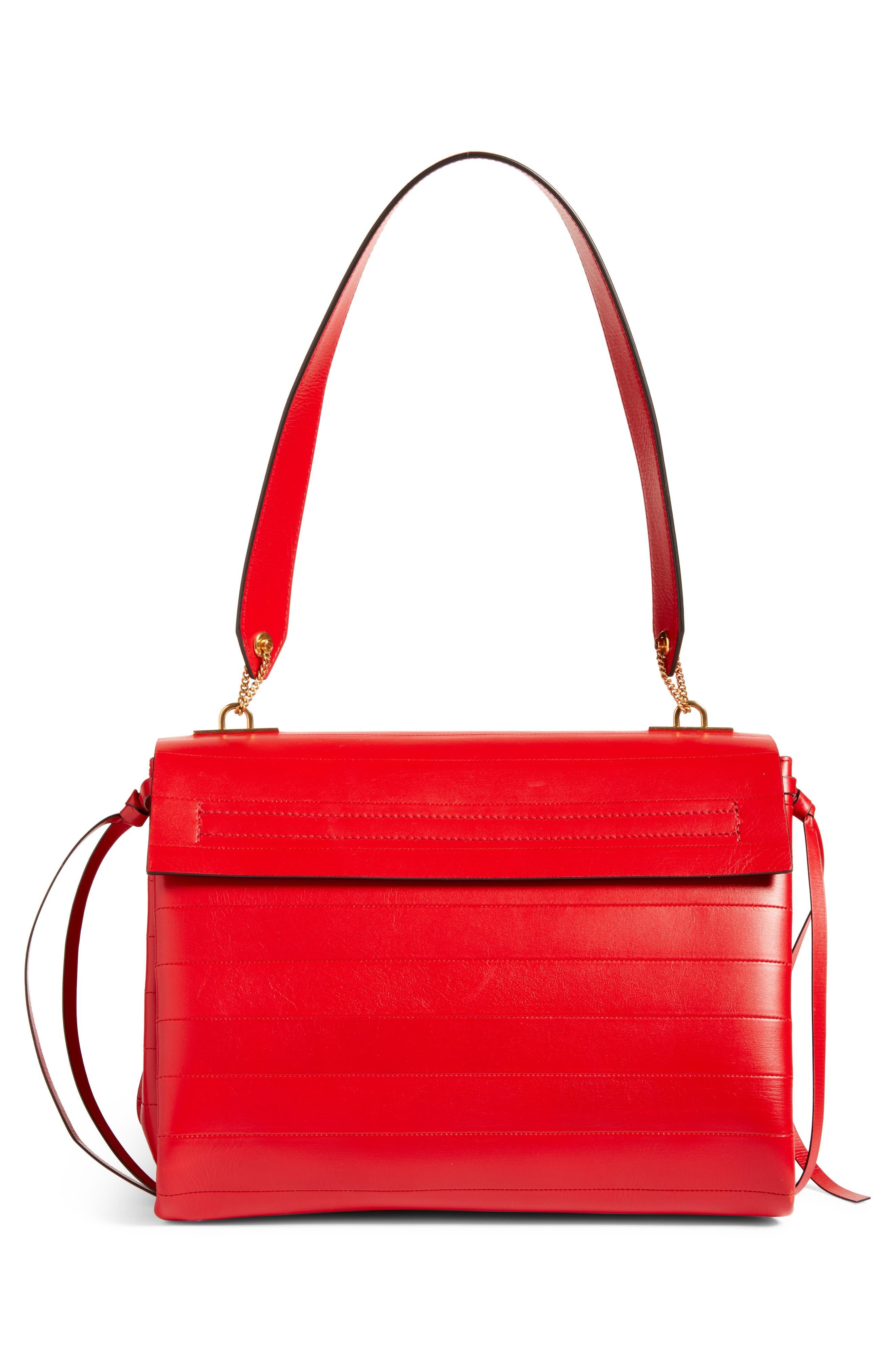,                             Medium V-Ring Leather Shoulder Bag,                             Alternate thumbnail 3, color,                             ROUGE PUR