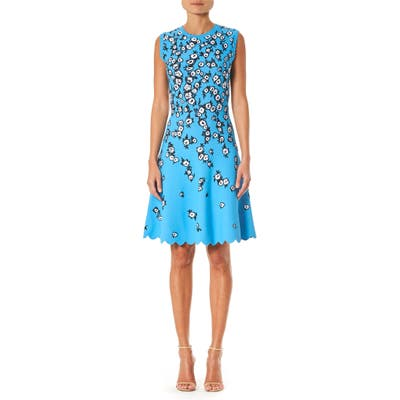 Carolina Herrera Floral Jacquard Scallop Hem Dress, Blue
