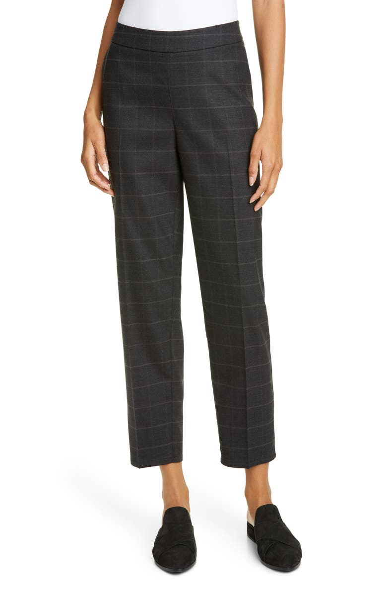 EILEEN FISHER Windowpane Plaid Stretch Wool Ankle Pants, Main, color, CHARCOAL