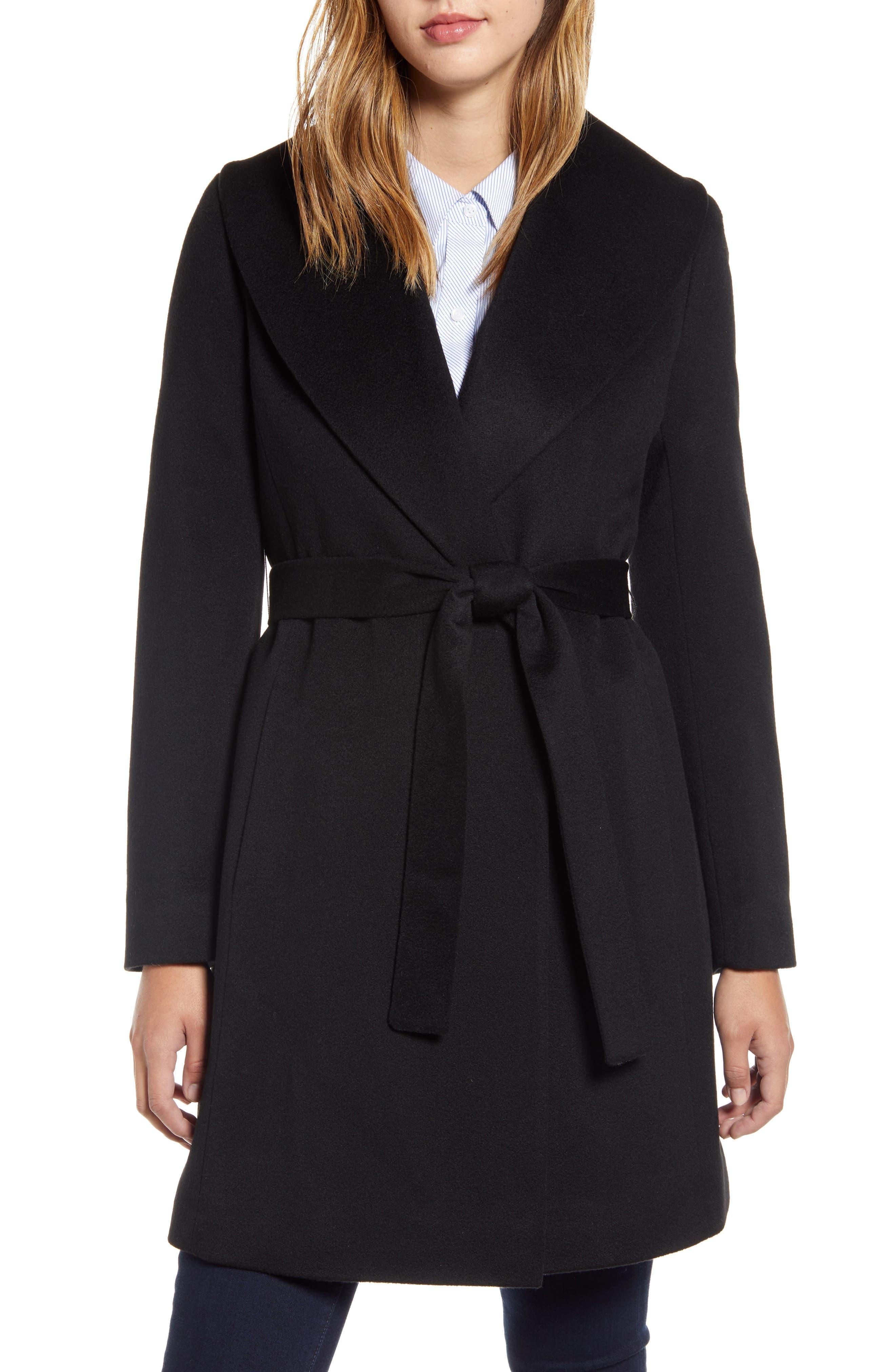 Shawl Collar Cashmere Wrap Coat by Fleurette