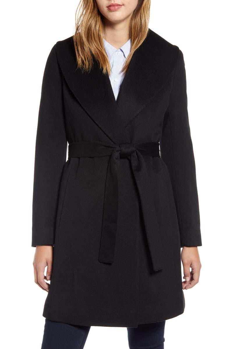 FLEURETTE Shawl Collar Cashmere Wrap Coat, Main, color, BLACK