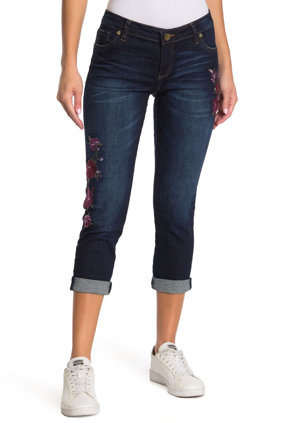Image of KUT from the Kloth Catherine Floral Embroidered Boyfriend Jeans