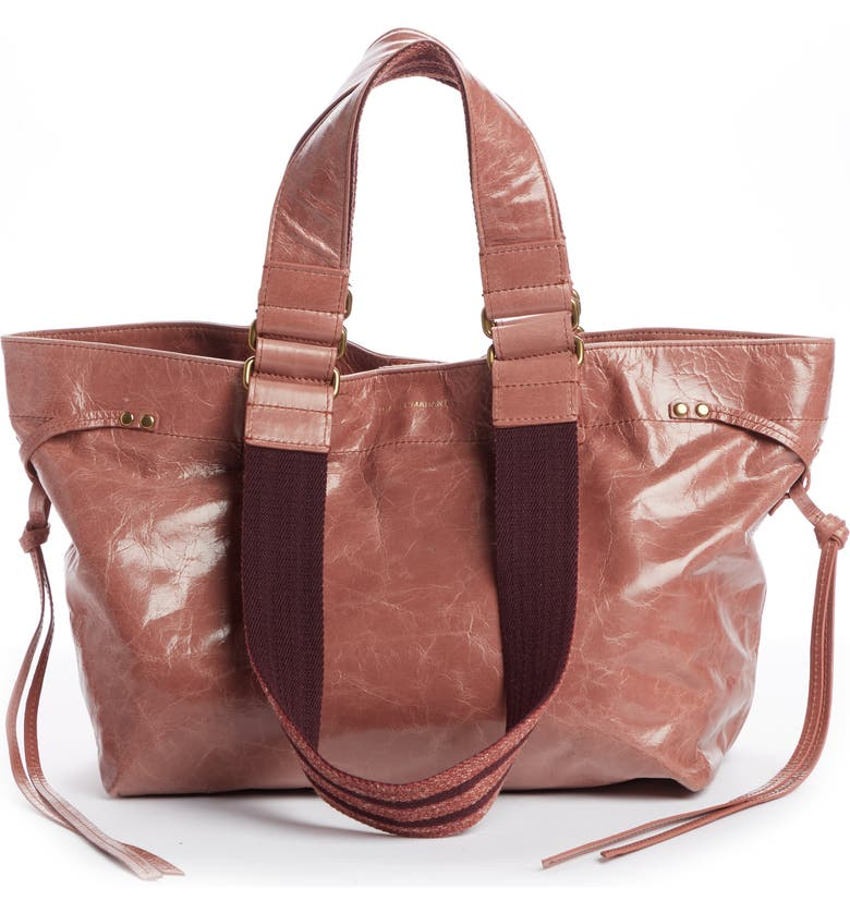 ISABEL MARANT Bagya Leather Tote, Main, color, ROSEWOOD