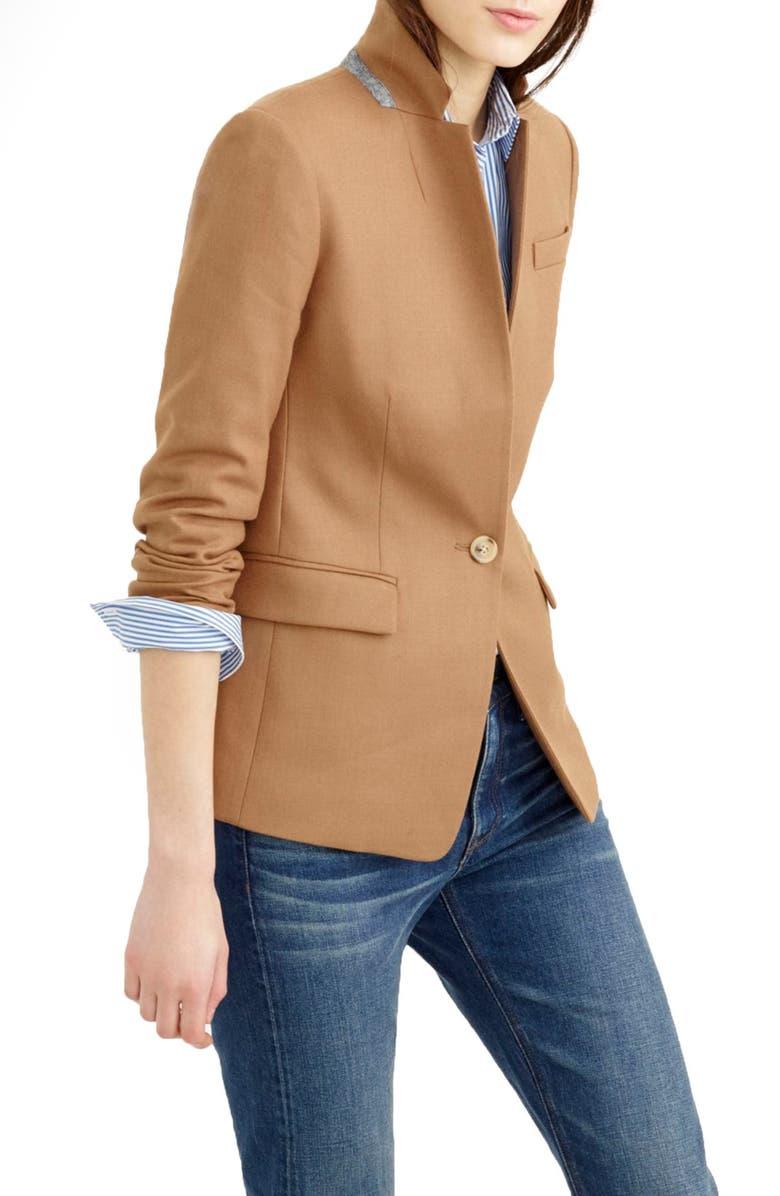 J.CREW Regent Stand Collar Blazer, Main, color, WARM CAMEL