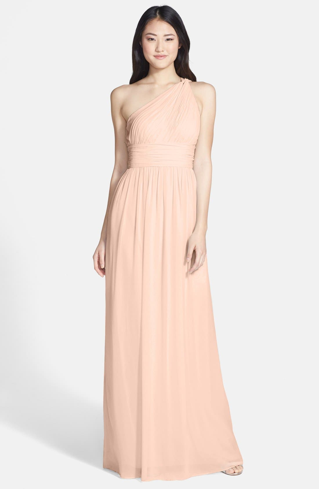 ,                             'Rachel' Ruched One-Shoulder Chiffon Gown,                             Main thumbnail 137, color,                             900