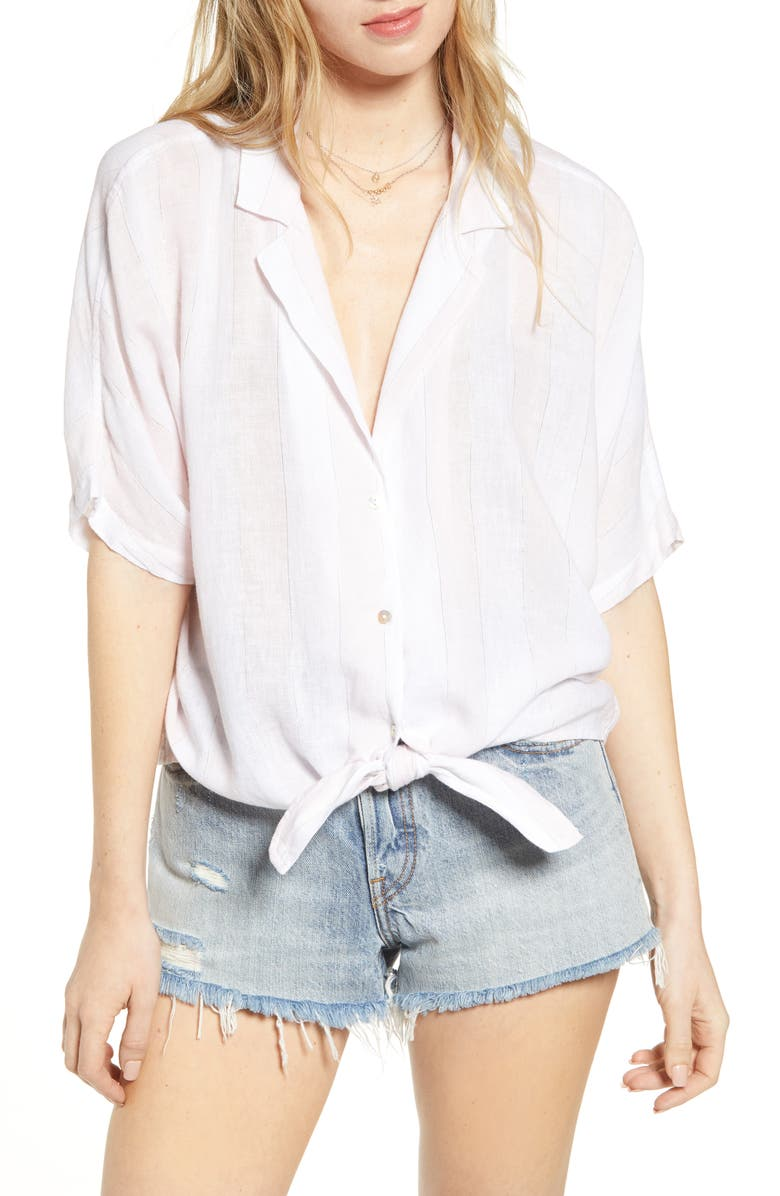Marley Tie Front Linen Blend Blouse by Rails