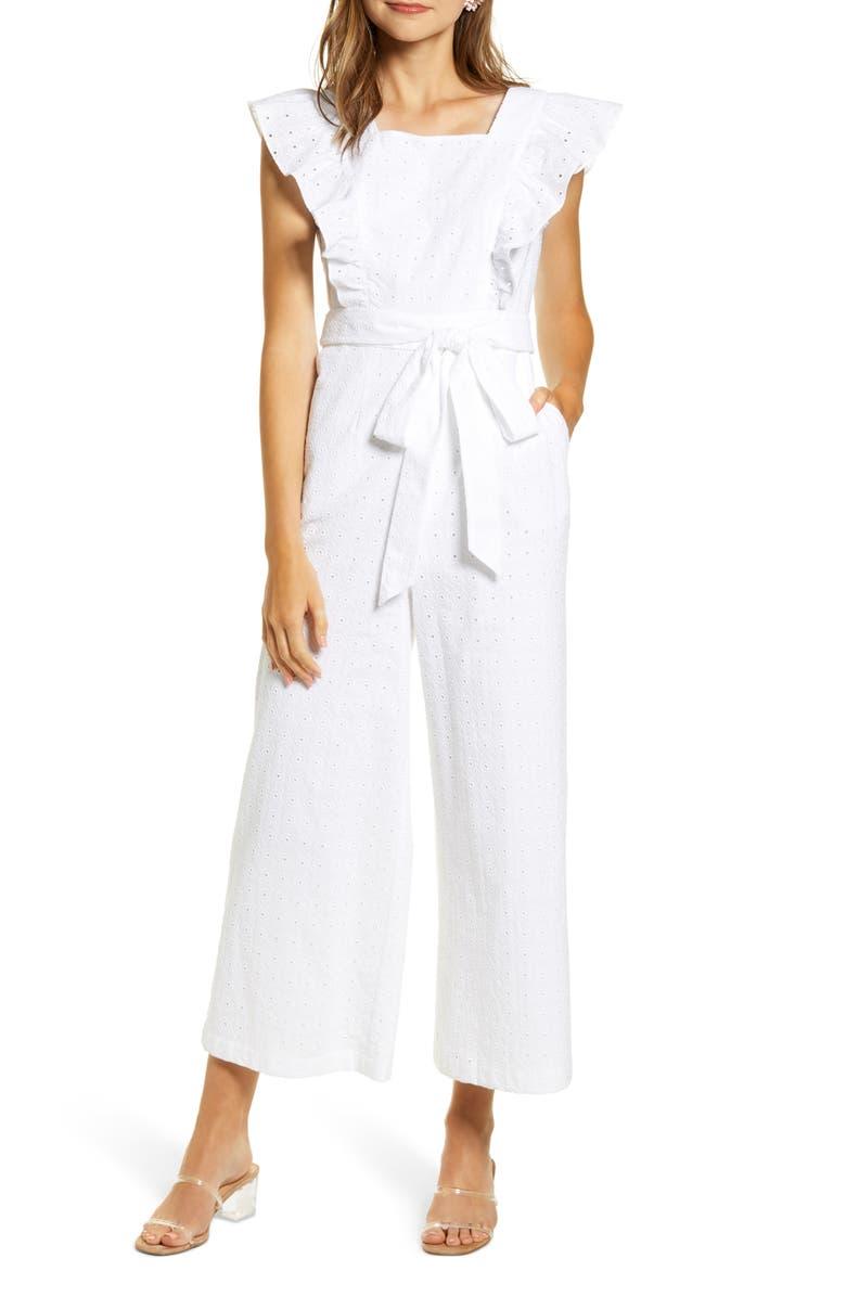 RACHEL PARCELL Ruffle Sleeve Lace Jumpsuit, Main, color, WHITE