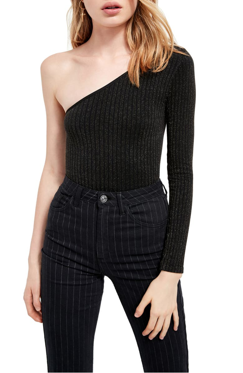 BDG URBAN OUTFITTERS BDG Urban Outfittters One-Shoulder Long Sleeve Thong Bodysuit, Main, color, 001