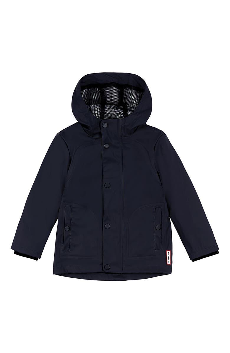 HUNTER Original Rubberized Waterproof Hooded Raincoat, Main, color, 410