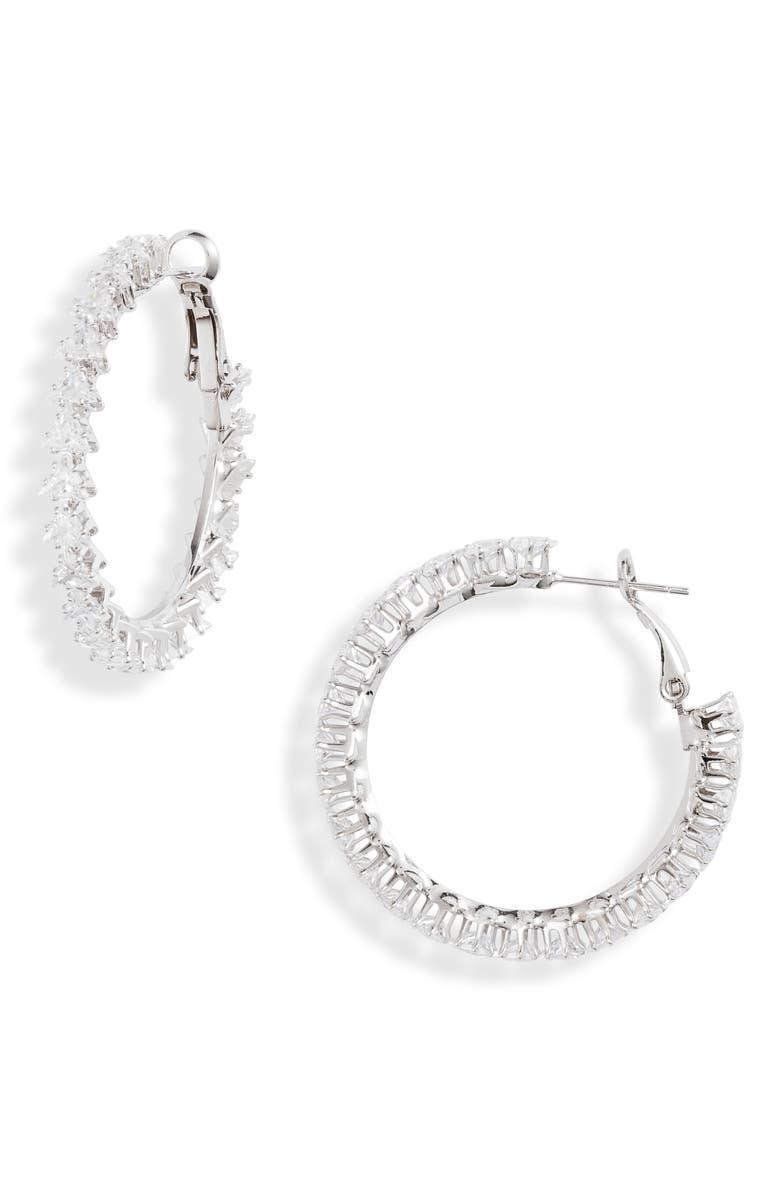 8 OTHER REASONS Glimmer Crystal Hoop Earrings, Main, color, 040