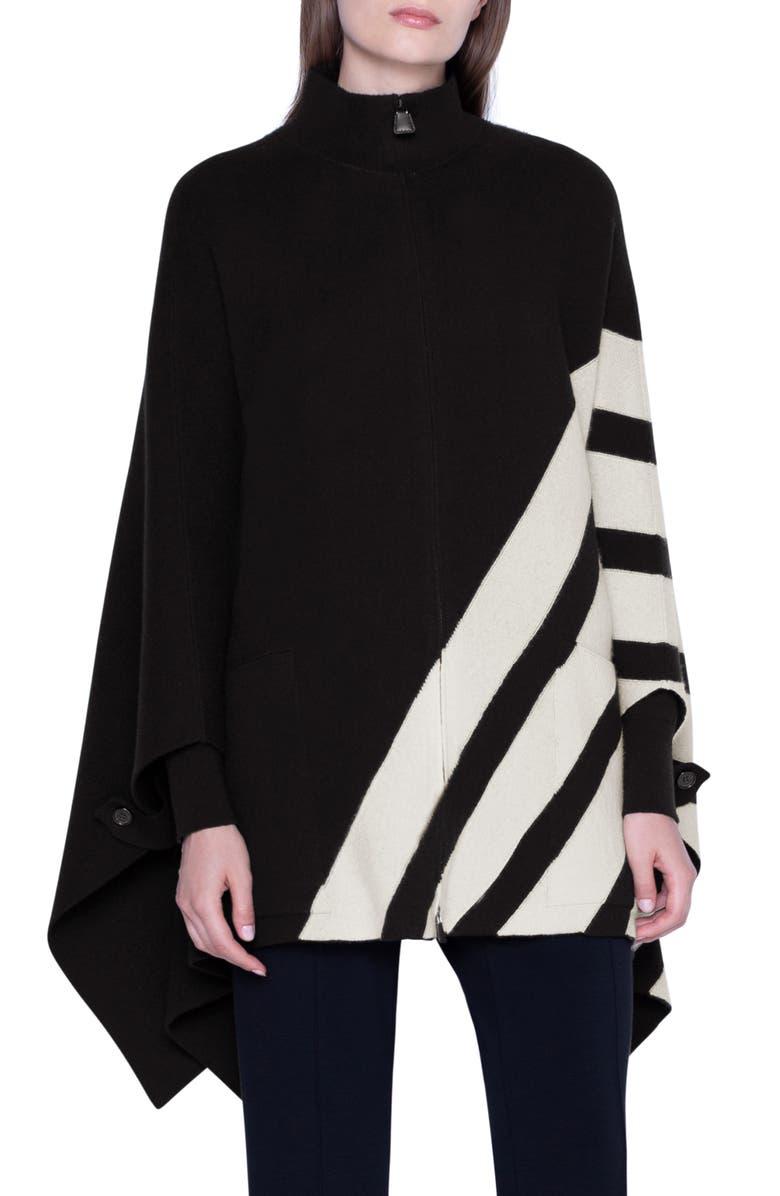 AKRIS Intarsia Stripe Reversible Cashmere Cape, Main, color, BLACK JASMINE