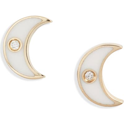 Ef Collection Enamel Diamond Moon Stud Earrings